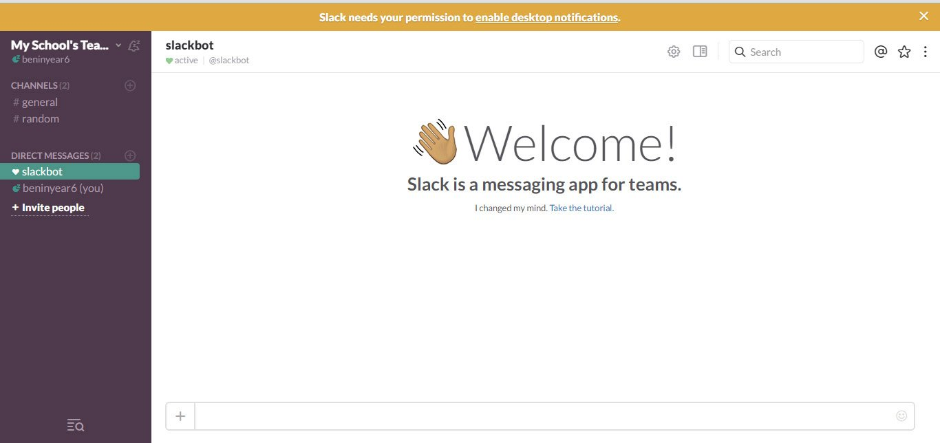 The slack welcome screen with a waving hand saying hi