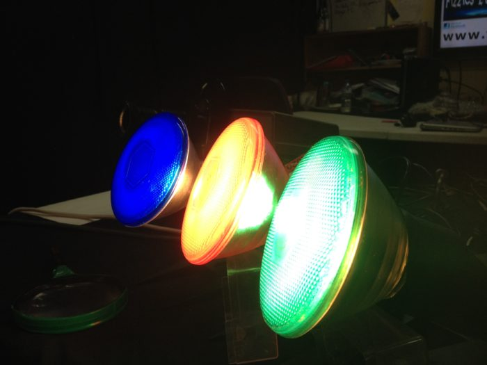 Create coloured shadows science experiment - red green and blue spotlights