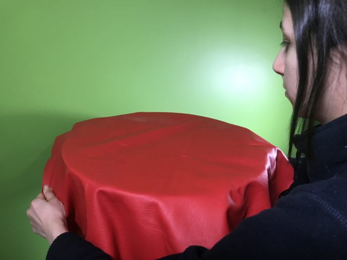 Create fog rings science experiment - stretching vinyl over the bin
