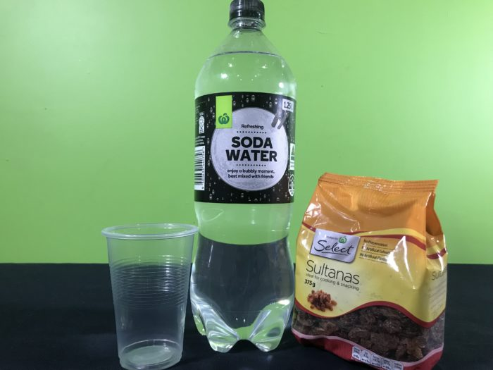 Dancing sultanas science experiment - materials needed