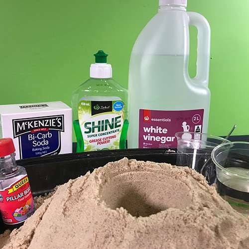 Materials needed for a volcano experiment