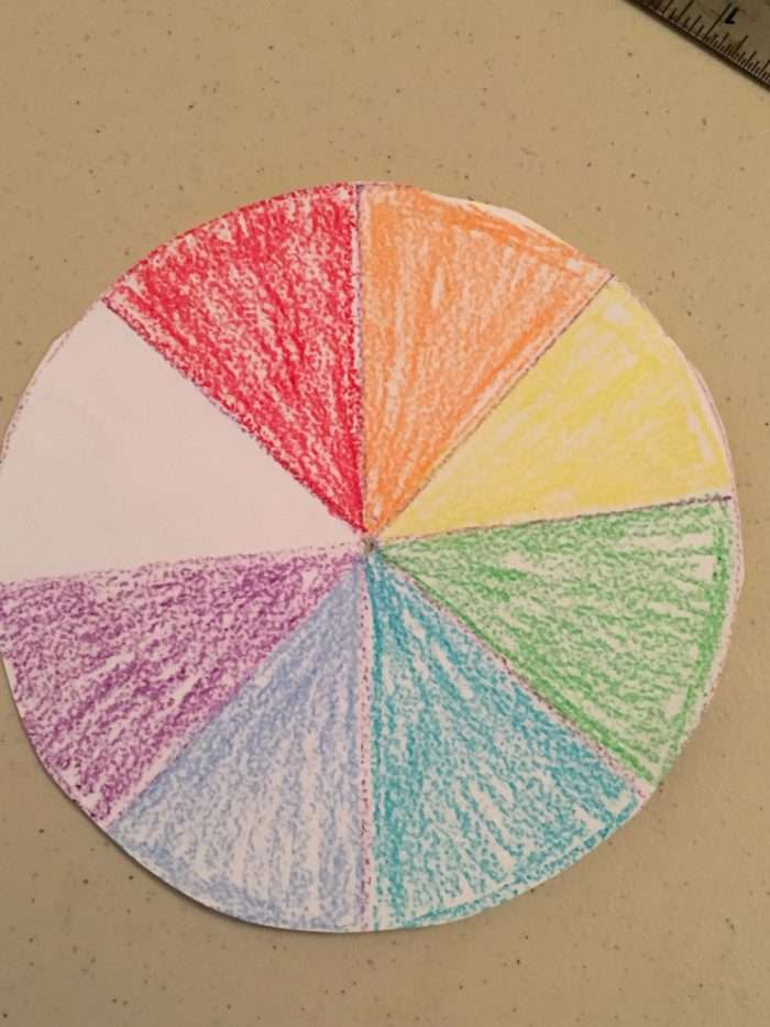 Newton colour wheel science experiment - circle with rainbow colours