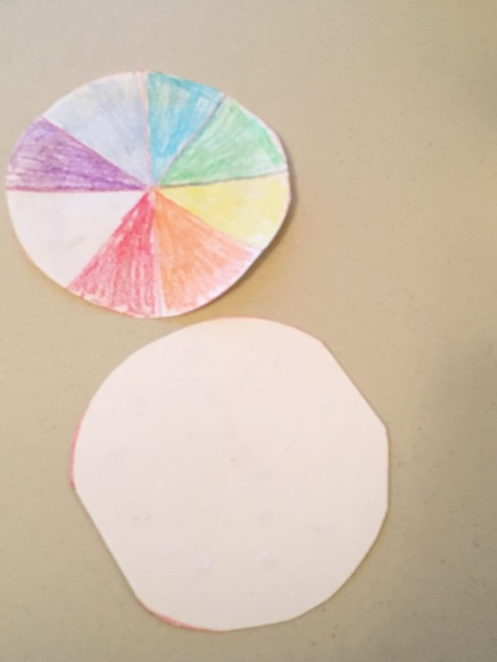 Newton colour wheel science experiment - wheel and cardboard