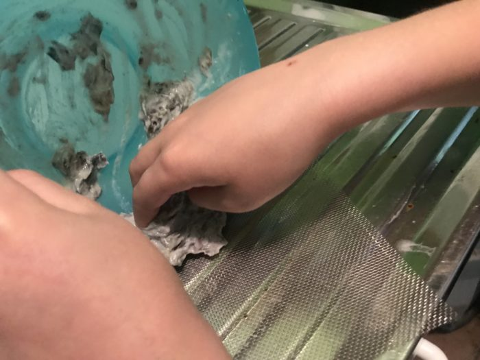 Recycle paper science experiment - scraping newspaper mix onto wire mesh