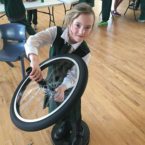 Student using the gyroscope