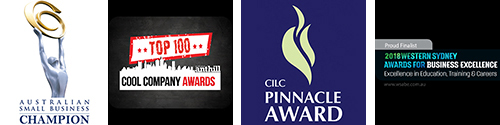 4 Awards shown - Australian Small Business Champion, WSABE Education Services Finalist, Top 100 Cool Company and CILC Award