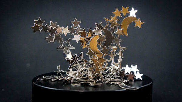 Magnetic sculpture. made up of magnetic stars and moon shaped objects