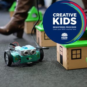 Fliprobot moving around houses with creative kids voucher