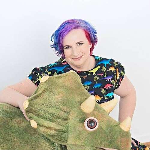 Jenni with a dinosaur