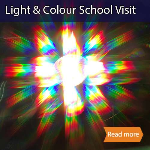 Light and colour school science visit tile showing light being diffracted to produce rainbows