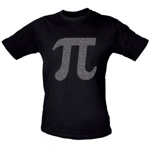 A black t-shirt with the Pi symobol on it. Close inspection shows that the symbol is made of numerals of Pi!