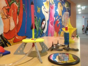 Stomp rocket and toys on table