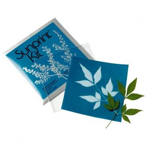 Sunprint Kit on a white background. There is a leaflet next to a cunprint paper that now has a white outline of the leaftlet, with the rest of the paper now blue due to sunlight