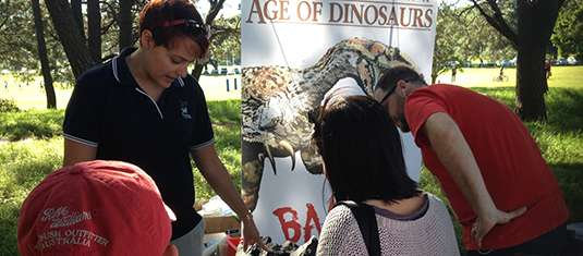 Walking with Dinosaurs DVD launch at centennial parklands May 2014