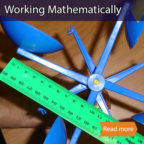 Working mathematically school maths visit tile showing a ruler being placed over an anemometer
