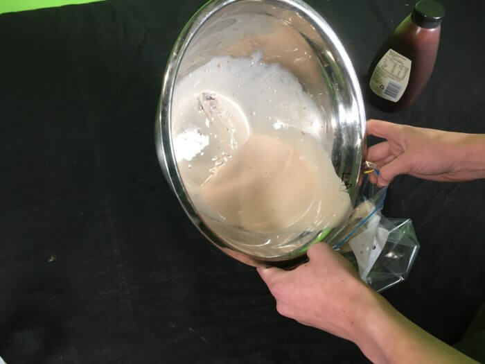How to make ice-cream Science experiment - transfer of milk substance to zip-loc bag(2)