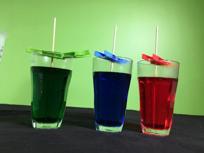 Making rock candy science experiment - kebab stick in sugar solutions
