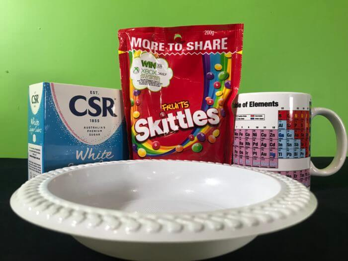 Skittle science experiment - ingredients needed