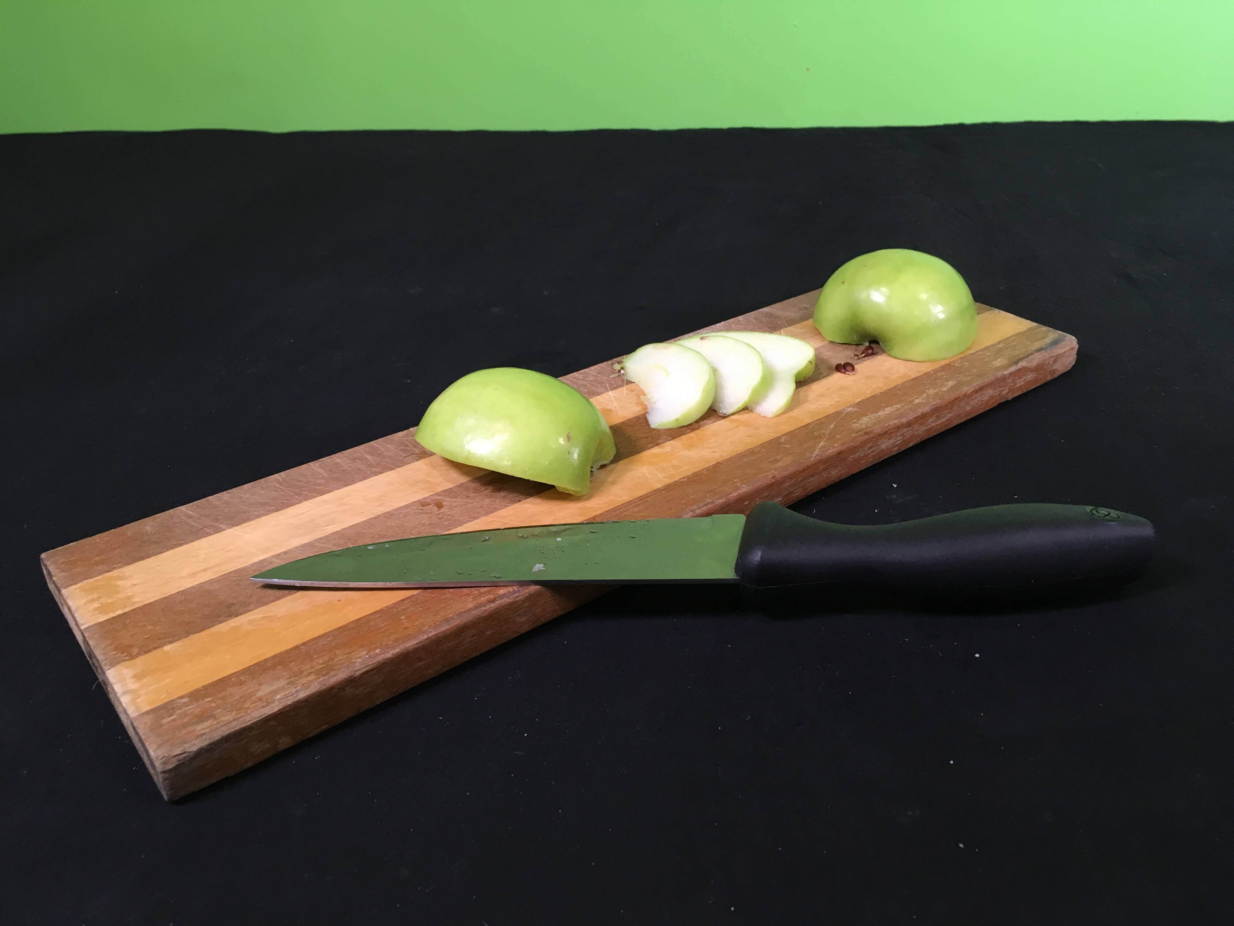 Why Does Fruit Go Brown Science Experiment - slicingcutting apple with knife