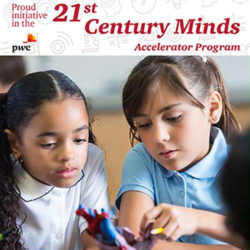 red writting saying 5 PwC 21st Century Minds Initiative with two girls loking at a model of a heart
