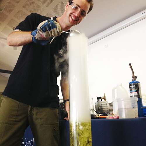 Adding dry ice to a large column of bubbly water