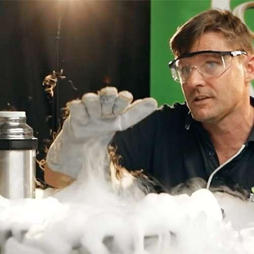 Ben using liquid nitrogen