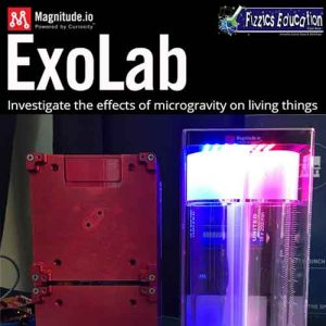 A picture of the ISS experiment ExoLab under lights (logos of Fizzics Education and Magnitude above this'. The tagline 'Investigate the effects of microgravity on living things' is also shown