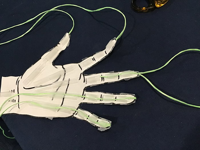 Strings of the hand model are stretched out all the way