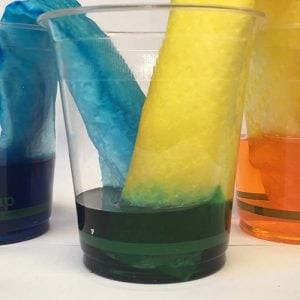 3 cups of different coloured water with two pieces of paper dangling into the center cup and into the outside cups. The paper is coloured by the food colour dye