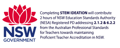 NSW State Logo next to a NESA endorsement for the STEM Ideation program for Fizzics Education