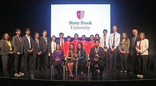 Clean Tech Competition teams on stage at Stony Brook University