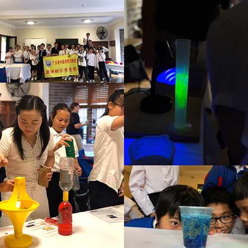 A photo collage showing students looking at an Alka Selzer volcano, using tornados in a bottle, a coin spinner, a glowing measuring cylinder under UV light and students standing around a yellow sign noting Boya International Education Group