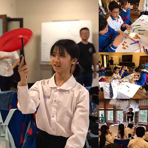 A photo collage showing chinese students running a pen chromatography experiment, a student spinning a plate on a stick and watching a liquid nitrogen demonstration
