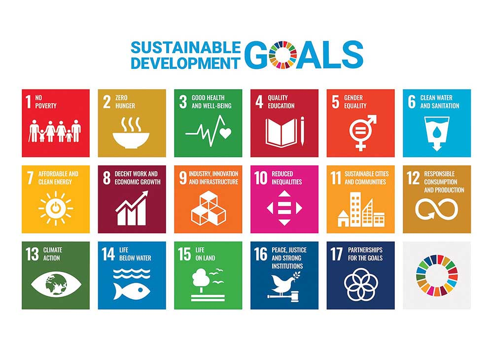 All 17 UN SDGs shown as a tiles on a white background