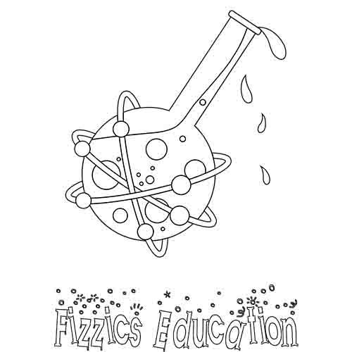 A cartoon line drawing of the Fizzics Education beaker logo