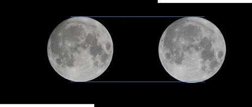 Tw images of the moon with a line above and below them showing them roughly the same size