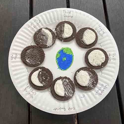 8 moon phases represented by chocolate biscuits around the edge of a paper plate