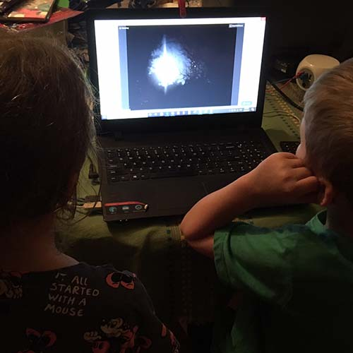 Two kids sitting in front of laptop during a web conference