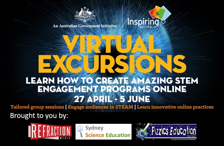 Inspiring Australia Virtual Excursions tiule showing Fizzics Education, Refraction Media and Sydney Science Education as partners