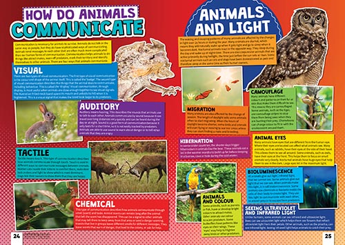 A page from the Just Kidding Magazine, showing details about how animals communicate