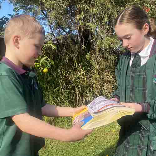 Two children holding the spines of two books that are joined together