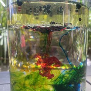 Red, green, yellow and blue food colouring from underneath oil floating above water in a glass vase