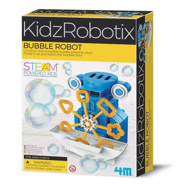 Bubble robot box, showing a blue robot with big eyes blowing bubbles in front of it with a paddle wheel dipping into a bubble mix tray in front of it's fan in the chest