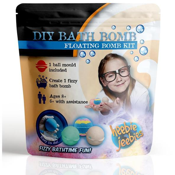 DIY Bath bomb kit showing the product on the packet as well as girl in a lab coat