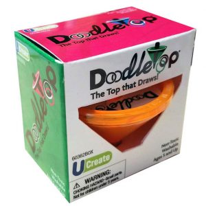 A Doodletop box, showing an orange spinning top in the box