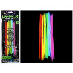 A bundle of glowing glowsticks next to their packaging on a black background