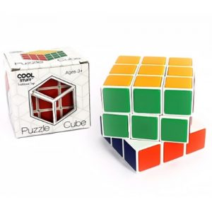 A multicoloured cube made of stacked cubes (27 in total). The cube is twisted to show the three rows of 9 cubes stacked and connected together. The packaging is next to the cube.