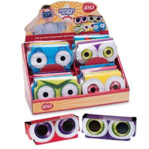 Monsterscope binocular - assorted in a display box. - assorted colours (red, green, purple, blue & yellow). Each of the glasses has a design of different monster eyes
