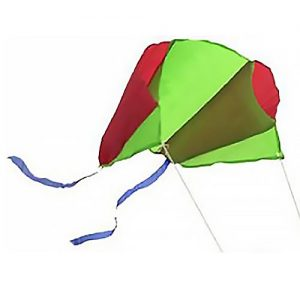 A red and green Pocket kite flying in the sky