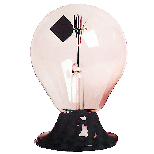 A light bulb shaped glass radiometer with a black plastic base. There are diamond shaped flages inside the bulb (one white and one black)